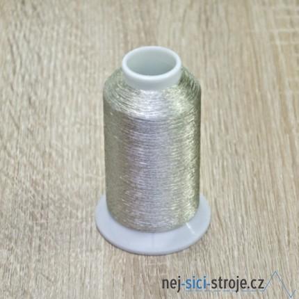 Metalická vyšívací nit - stříbrná 2500m