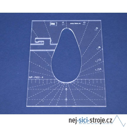Quiltovací pravítko tvar pero 4 inch  NP-P02-4