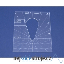Quiltovací pravítko tvar kapka 3 inch NP-P05-3