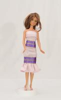 Růžová sukně a top (zdobené fialovou stužkou)